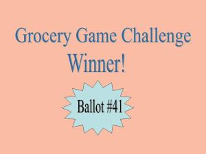 Grocery Game Challenge winner