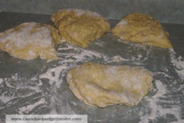Zeppole potato donut dough divided