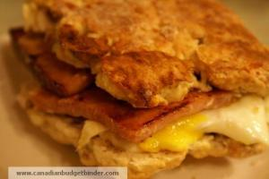 Ham and Egg On a Walnut White Cheddar Biscuit