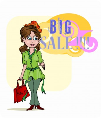 Girl shopping a big sale