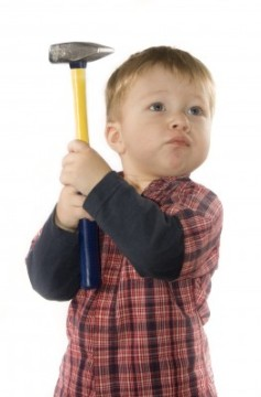 young boy, hammer, working, chores