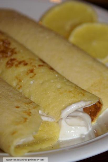 stuffed lemon sugar yogurt crepes