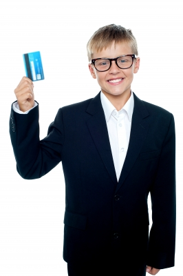 Boy Holding Debit Card