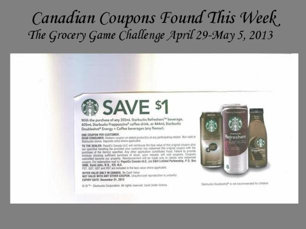 Canadian Coupons Found Grocery Game Challenge
