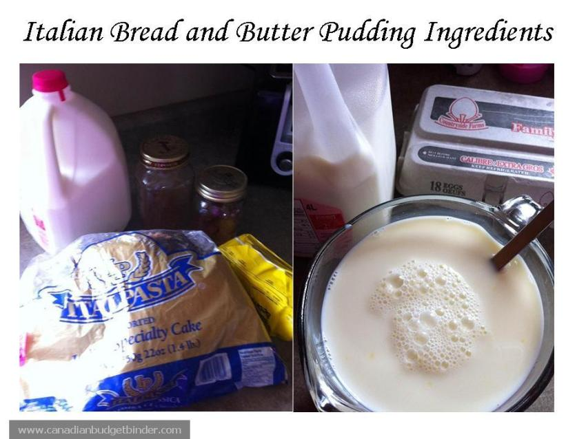 Ingredients Pannetone Bread and Butter Pudding