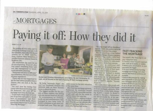 Mortgages Toronto Star April 25 2013