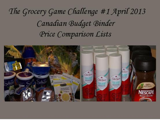 The Grocery Game Challenge #1 April Price Comparison List