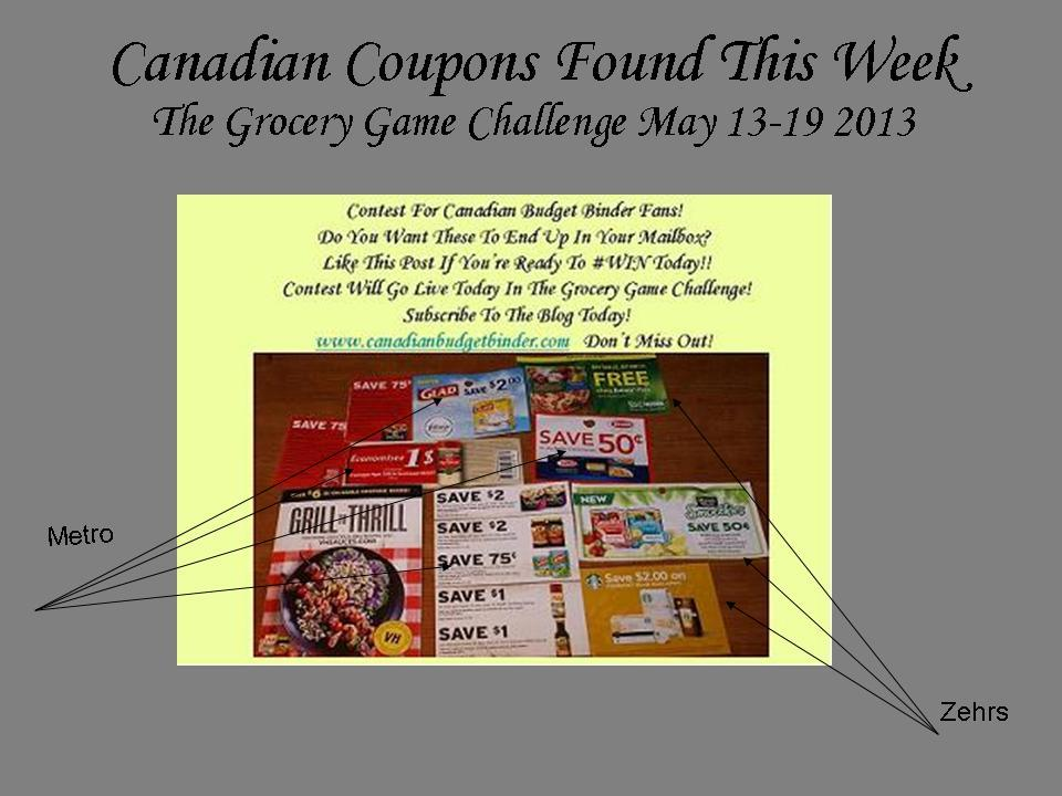Canadian Coupons Found Grocery Game Challenge May 13-19