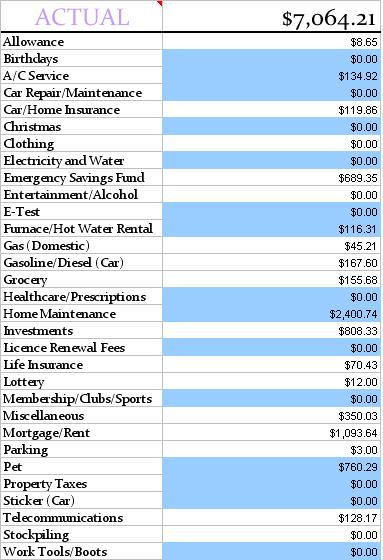 Actual Expenses May 2013