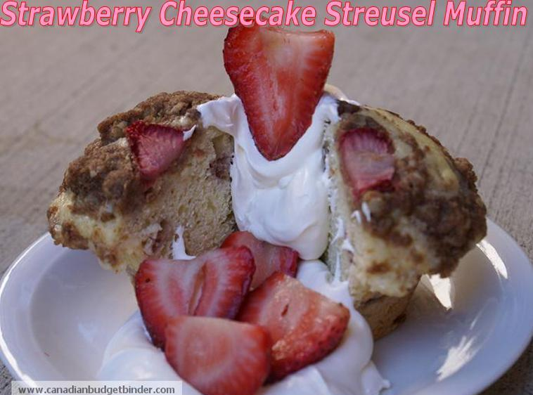 Strawberry Cheesecake Streusel Muffin with Whipped Cream and Fresh Strawberries