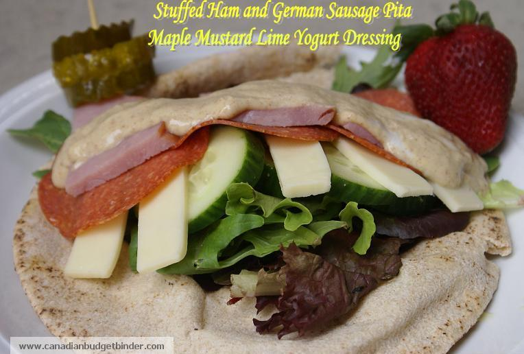 Stuffed Ham and Geram Sausage Pita With Maple Mustard Lime Yogurt Dressing