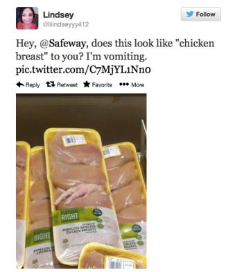 chicken foot in chicken breast package